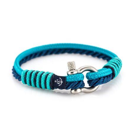 Женский синий ментоловый тонкий браслет — № 842