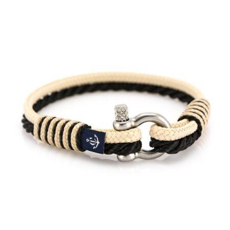 Женский бежево-черный тонкий браслет  — № 843