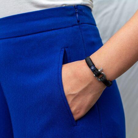 Чёрный тонкий браслет для мужчин и женщин — № 862 фото 5