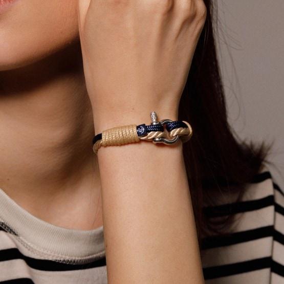 Бежево-синий тонкий браслет для мужчин и женщин — № 863