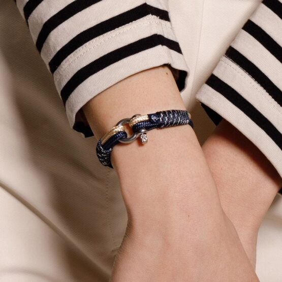 Морской бежево-синий тонкий браслет для мужчин и женщин — № 865