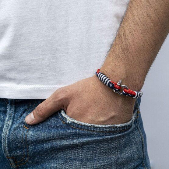 Тонкий красный и синий браслет для мужчин и женщин — № 866
