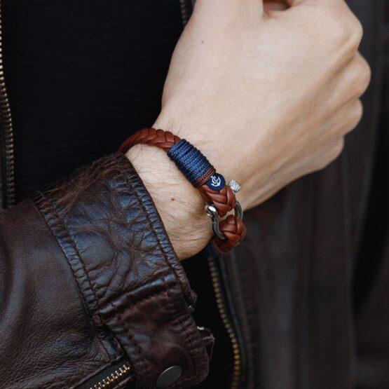 Коричневый кожаный браслет мужской  — № 10018