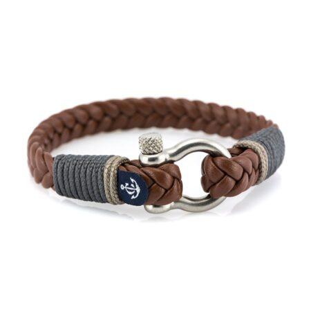 Коричневый мужской кожаный браслет — № 10019
