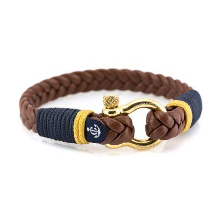 Мужской кожаный браслет коричневого цвета — № 10020