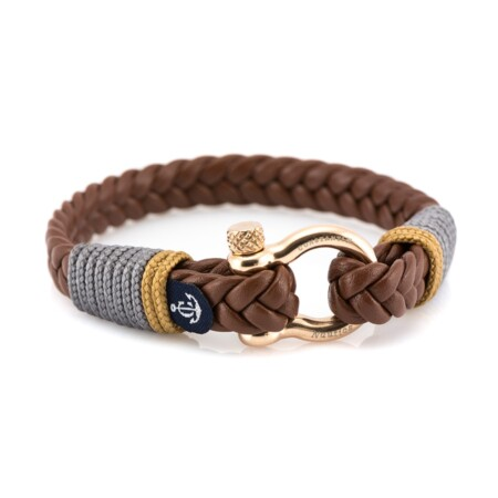 Мужской кожаный браслет коричневого цвета с серо-золотыми нитями — № 10021