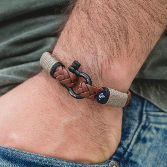 Коричневый кожаный браслет для мужчин и женщин — Jack Tar 10023