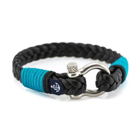 Кожаный браслет чёрного цвета для мужчин и женщин — Jack Tar 10025