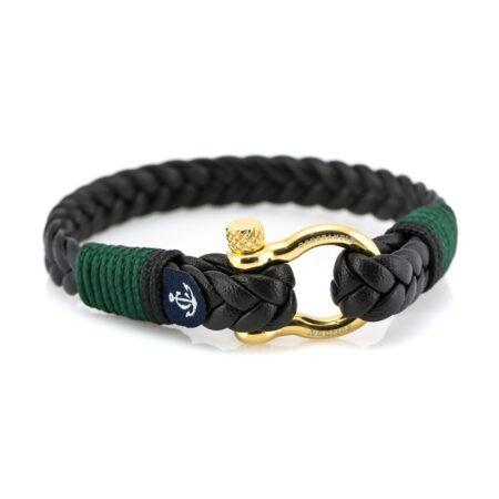 Кожаный чёрный мужской браслет с золотистым замком — № 10026