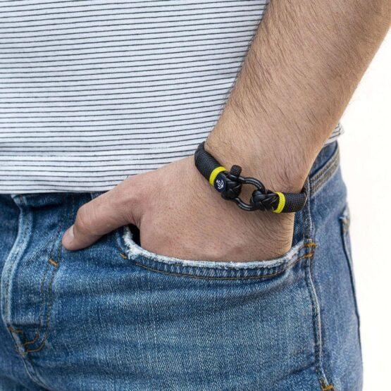 Кожаный браслет чёрного цвета для мужчин и женщин — Jack Tar 10028