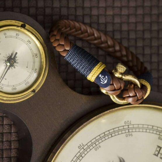 Мужской кожаный браслет коричневого цвета — № 10020 фото 4