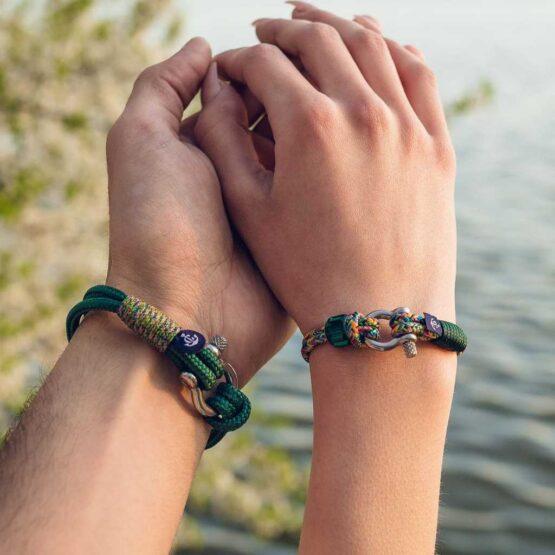 Комбинированные парные браслеты для влюблённых с кристаллом сваровски — № 913 фото 2