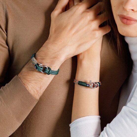 Комбинированные парные браслеты для влюблённых с кристаллом сваровски — № 913