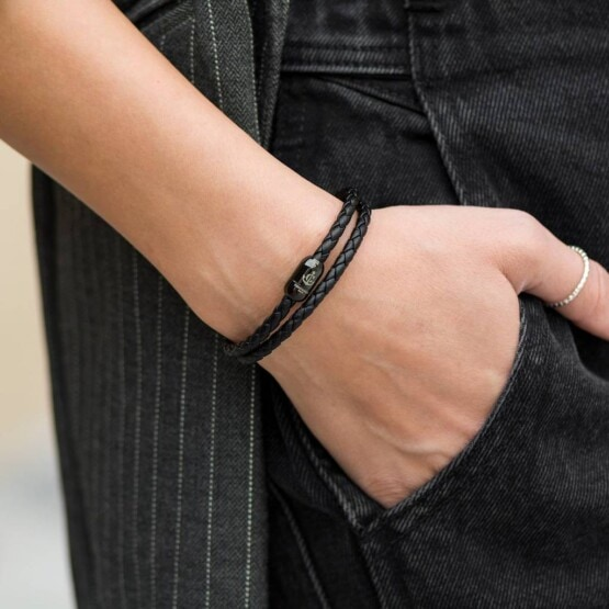 Двойной кожаный браслет на магнитной застёжке — № 10036 фото 4