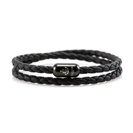 Тонкий двойной кожаный магнитный браслет чёрного цвета — № 10036