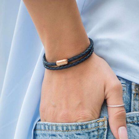 Кожаный браслет двойного типа на магнитной застёжке № 10038 фото 3