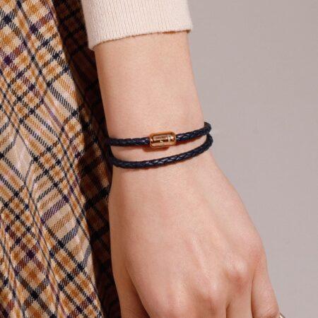 Тонкий тёмно-синий двойной кожаный магнитный браслет № 10038