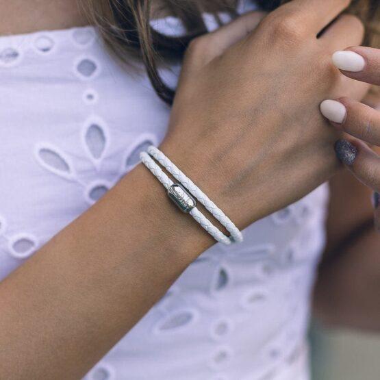 Двойной кожаный браслет для женщин № 10039 фото 4