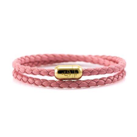 Двойной кожаный браслет для женщин розового цвета с магнитом № 10040