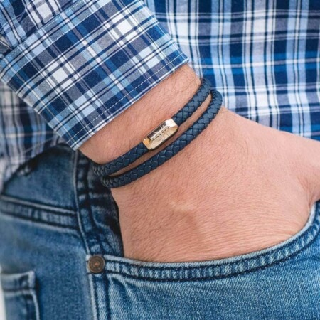 Чёрный кожаный браслет на магнитной застёжке №10050 фото 4