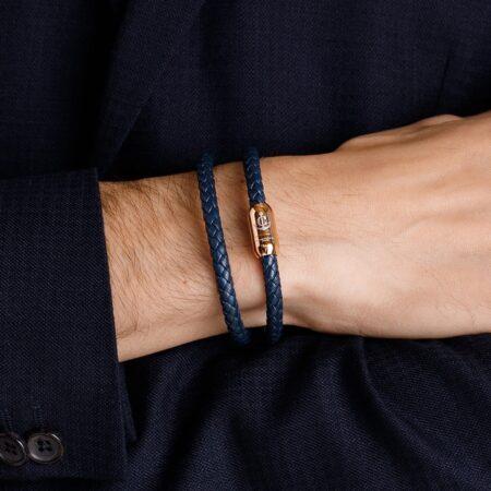 Синий мужской кожаный браслет на магнитной застёжке № 10050