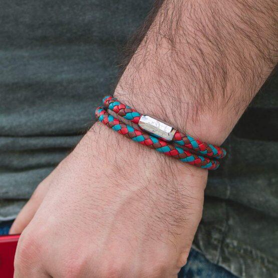 Комбинированный мужской кожаных магнитный браслет CNJ #10053 фото 3