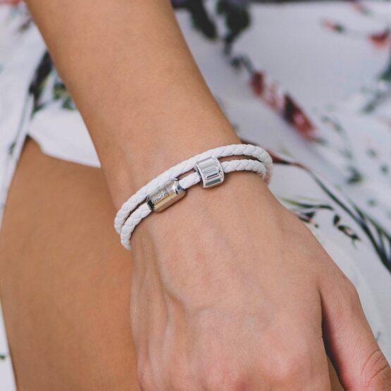 Белый кожаный браслет с камнем Swarovski —№ 7223 фото 4