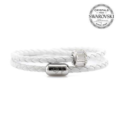 Белый кожаный браслет с камнем Swarovski —№ 7223