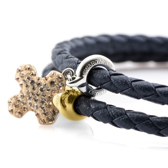 Женский синий браслет из натуральной кожи с камнем Swarovski — № 7226