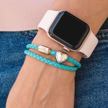Двойной женский кожаный браслет сваровски голубого цвета — SWAROVSKI CNB 7227
