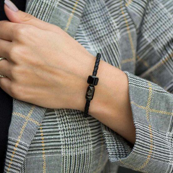 Чёрный кожаный браслет с магнитной застёжкой — № 7230 фото 4