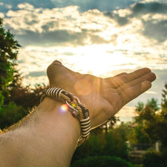 Парные браслеты для влюблённых бежево-синего цвета — № 951 фото 5