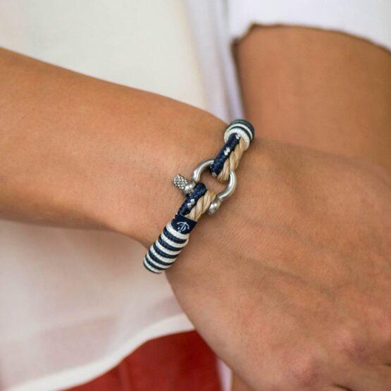 Парные браслеты для влюблённых бежево-синего цвета — № 951 фото 3