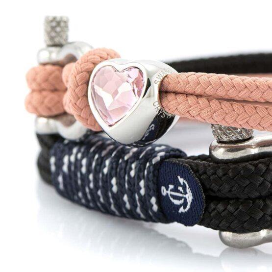 Парные браслеты для влюбленных чёрного и розового цвета— № 927