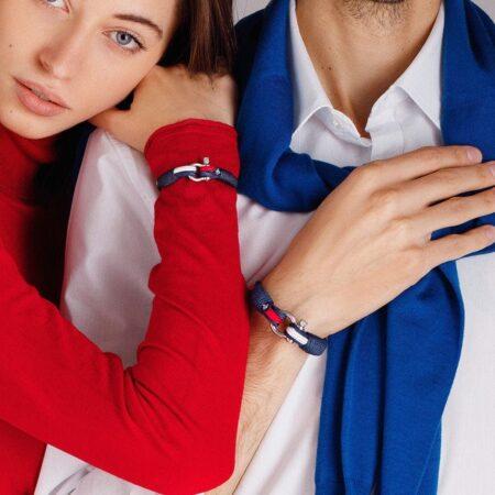 Парные браслеты для влюблённых красно-белого цвета — № 948