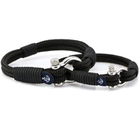 Парные браслеты чёрного цвета для влюблённых — № 949