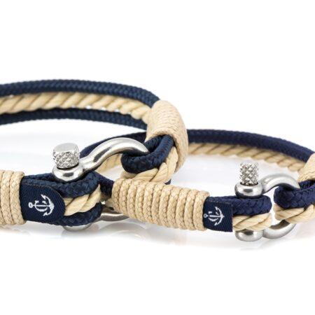 Сине-бежевые парные браслеты для влюбленных — № 950