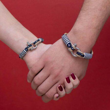 Парные браслеты для влюблённых бежево-синего цвета — № 951 фото 2