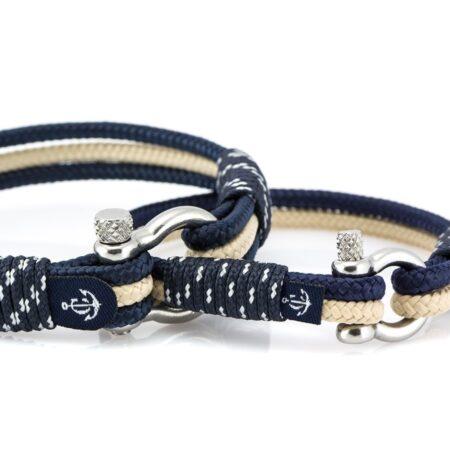 Парные браслеты синего-бежевого цвета для влюблённых — № 952