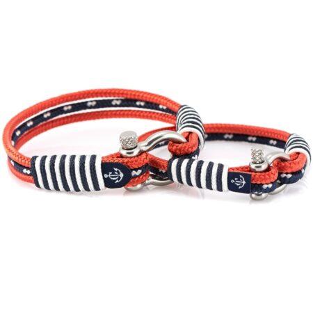 Парные браслеты в красно-синих тонах для влюблённых — № 953
