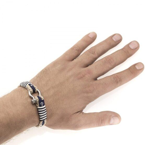 Парные браслеты для влюблённых бежево-синего цвета — № 951