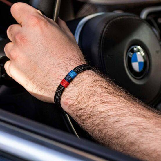 Черный мужской браслет для любителей BMW — M POWER 3078