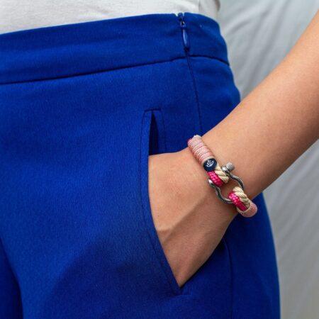 Женский бежево-розовый морской браслет — № 3115 фото 5