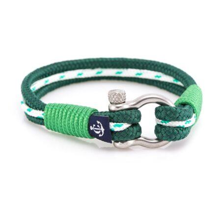 Морской браслет зелёно-белого цвета для мужчин и женщин — № 4009 R