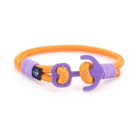 Оранжевый браслет с якорем для женщин  — № 604 R