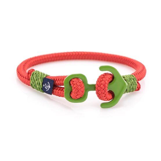 Красный браслет с зелёным якорем — KNOBBY 605 R