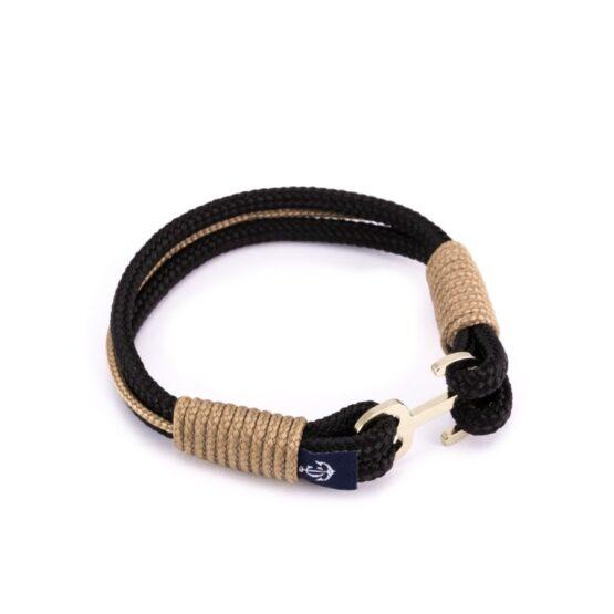 Черный и бежевый мужской браслет с якорем  — ROYAL 6060