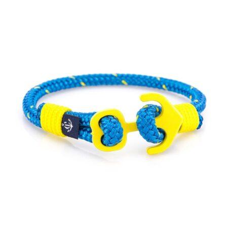 Голубой браслет с желтым якорем для женщин — № 608 R