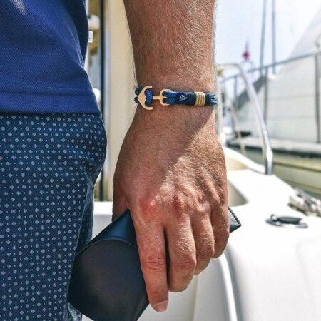 Синий браслет с золотистым якорем для мужчин и женщин — ROYAL 6005 R