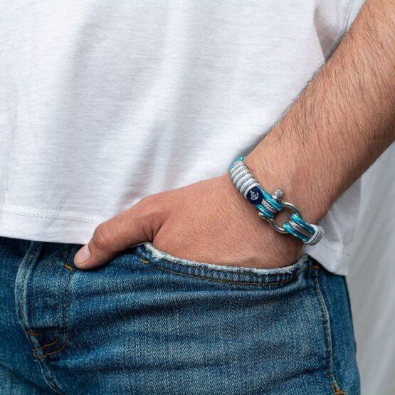 Браслет голубого и серого цвета с крапинками  — № 3030 R